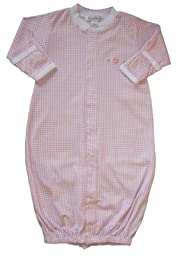 Kissy Kissy Baby Girls Homeward Gingham Embroidered Hearts Convertible Gown-Preemie