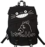 Totoro Smiling Black Backpack with White Lettering 16'' School Backpack