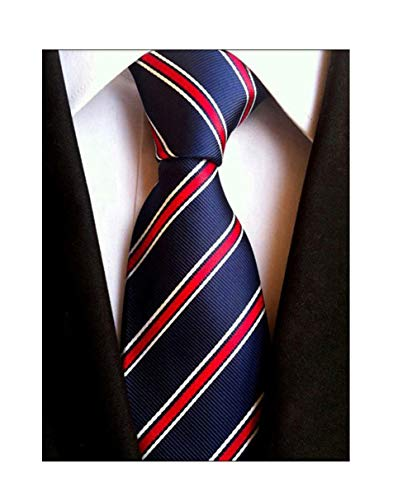 Elfeves Men's Modern Striped Patterned Formal Ties College Daily Woven Neckties (One Size, Navy Red)