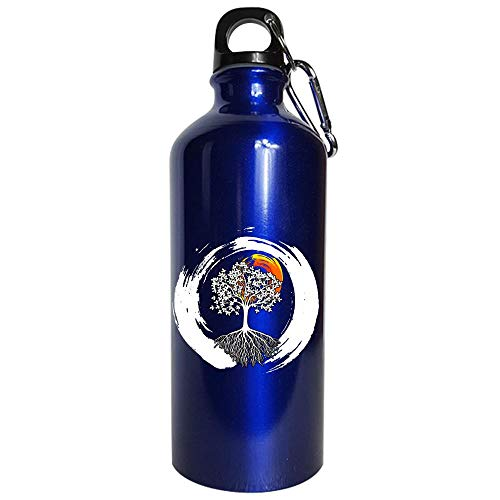 Funny Calligraphy - Tree Symbol - Formal Writing Handwriting Humor - Water Bottle Metallic Blue