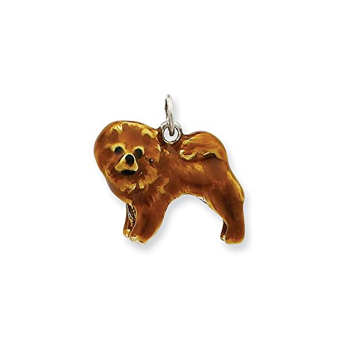 - .925 Sterling Silver Enameled Chow Dog Charm Pendant