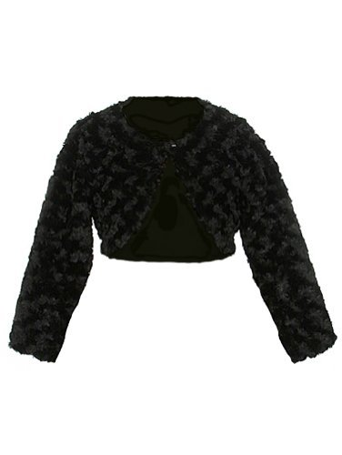 Baby Shrug - Faux Fur Long Sleeve Bolero Jacket Shrug - Black Girl 10