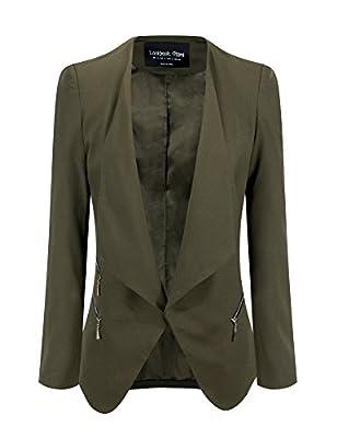 LookbookStore Women's Open Front Draped Asymmetric Padded Side Zip Blazer Jacket