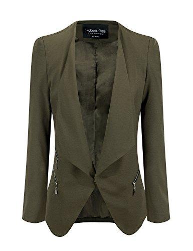LookbookStore+Women%27s+Army+Green+Open+Front+Draped+Asymmetric+Padded+Side+Zip+Blazer+Jacket+US+24