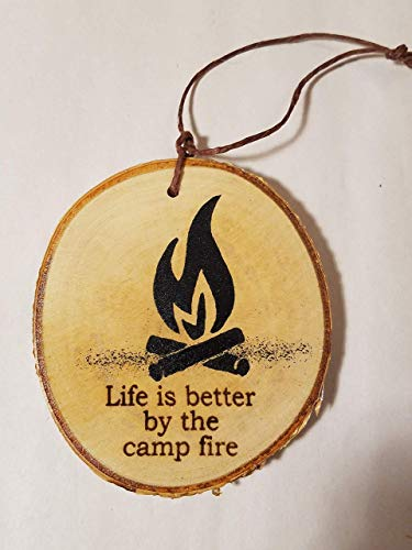 Campfire Birch Tree Wood Slice made our list of the most unique camping Christmas tree ornaments to decorate your RV trailer Christmas tree with whimsical camping themed Christmas ornaments!