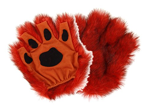 (Orange Fingerless Costume Tiger, Fox Paws for Adults)