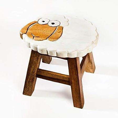 Taburete infantil de madera maciza con diseño de oveja, 25 cm de altura de asiento para nuestro grupo de niños