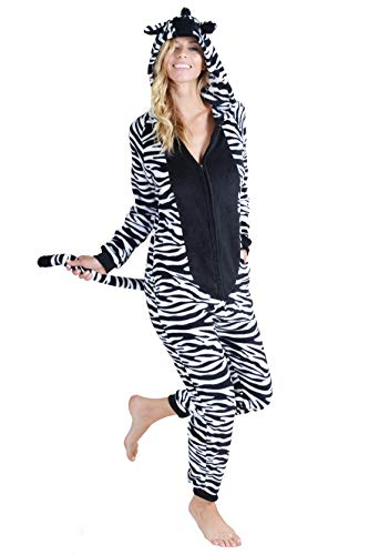 Unisex Adult Pajama Plush Zebra Animal Onesie (Zebra, Small/Medium) - Comfortable Halloween Costumes For Women
