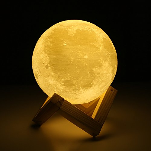Moon lamp - Lampwin 5.9 Inch USB Rechargeable Dimmable LED 3D Full Moon Light Lantern, Touch Switch Warm / Cool White Crescent Enchanting Moon Night Light for Baby Nursery Kids Bedroom Home Decor Gift (Bedroom Decor)