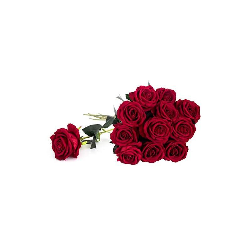 "silk flower arrangements royal imports artificial red roses, 1 dozen realistic silk touch, 30"" long single stems, use for bouquet, centerpiece, wedding, home decor vase, flower gift"