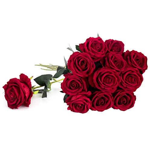 "Royal Imports Artificial Silk Roses Red Velvet 30"" Long Stemmed, 1 Dozen Fake Flowers for Bouquets, Weddings, ()"