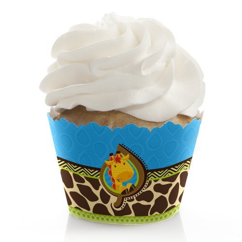 Giraffe Boy - Baby Shower or Birthday Party Cupcake Wrappers - Set of 12