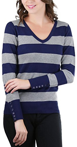 ToBeInStyle Women's Button V-Neck Striped Sweater - D Navy/H Grey - Large