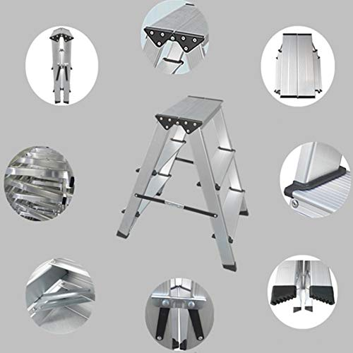 LXF Step stool Step Stool Household Folding Step Stool Aluminum Alloy Kitchen Living Room Bedroom Multifunction Small Ladder Chair by Step stool (Image #4)