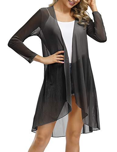 Porda Women's Long Sleeve Open Front Drape Duster Maxi Long Cardigan (Black,Large)