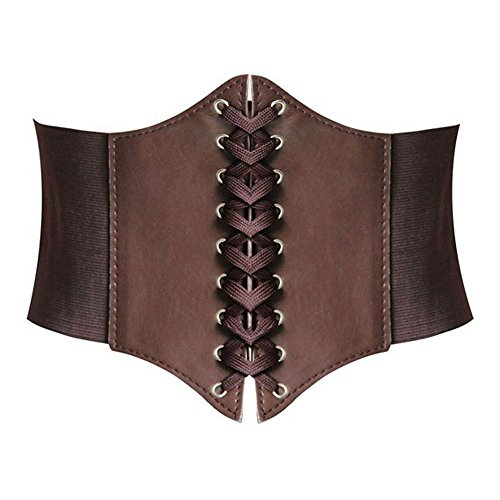 Hanerdun Lace-up Corset Elastic Cinch Belt Waist Belt Two Sizes Gift Idea Brown Small