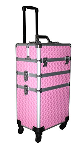 3 in 1 Rolling Aluminum Locking Cosmetic Case Professional Make-up Trolley Train Case Artist Organizer Wheeled For Travel (Pink (Leather Telescoping Handles Luggage Set)