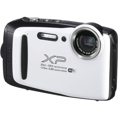 Fujifilm FinePix XP130 Waterproof Digital Camera w/16GB SD Card – White, Plus LIQUID DEALS Cloth