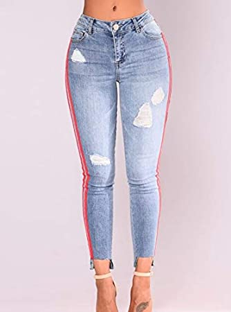 b4e7546aa1666 Amazon.com: Autumn Water high Street Jeans Women Basic Classic High ...