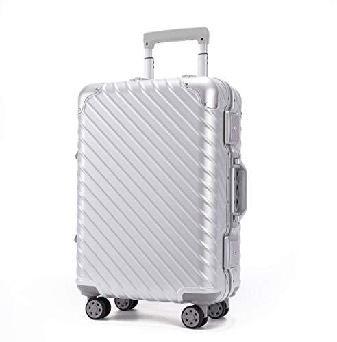 SfHx すべてのアルミフレーム21インチトロリーケースギフトスーツケースユニバーサルホイールスーツケース (Color : シルバー, Size : 25) B07PT3KJF6 シルバー 25