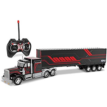World Tech Toys Mega Rig Electric RC Semi Trailer Truck, Black/Blue/Red