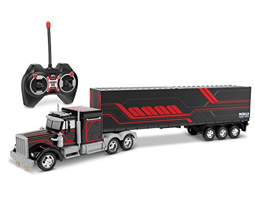 World Tech Toys Mega Rig Electric RC Semi Trailer Truck, Black/Blue/Red, 23.5 x 3 x 5