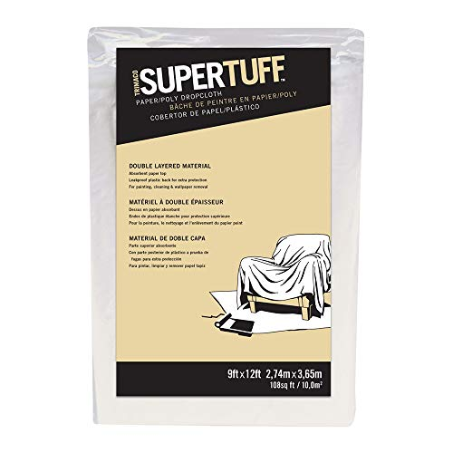 (Trimaco SuperTuff Paper/Poly Drop Cloth, 9-feet x 12-feet)