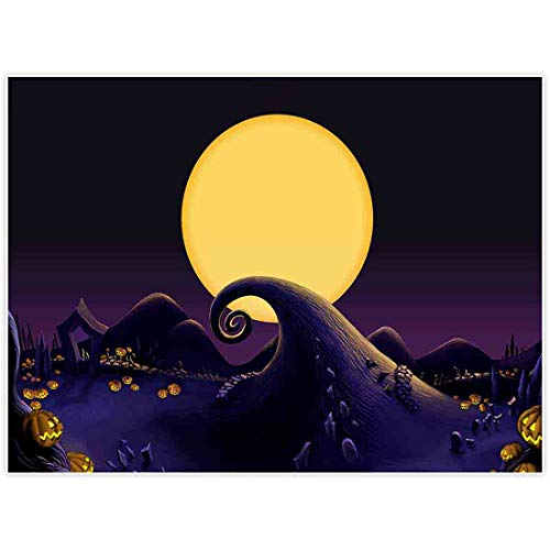 The Nightmare Before Christmas Halloween Wallpaper (Allenjoy 8x6ft Nightmare Before Christmas Themed Backdrop for Halloween Pumpkin Jack Theme Birthday Baby Shower Photo Studio Photography Pictures Background Party Home Decor Decoration)
