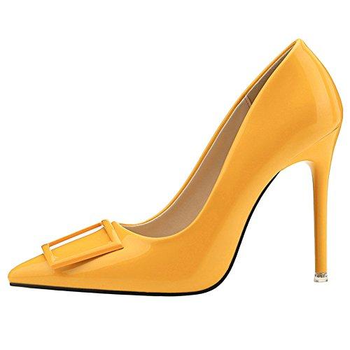 Conseils Talon Chaussures Discothèque Sexy Court Haut Toe Shoes Clubbing Stiletto Yellow Mode Closed Square Mesdames Button Party Pompes 5x6WAPAq