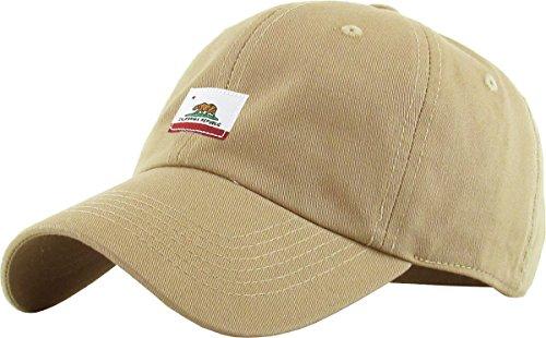 KBSV-034 KHK California Republic Flag Dad Hat Baseball Cap Polo Style - California Mens Style