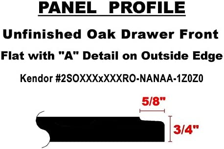 Unfinished Oak Flat Drawer Front with Edge Detail by Kendor 6H x 18W