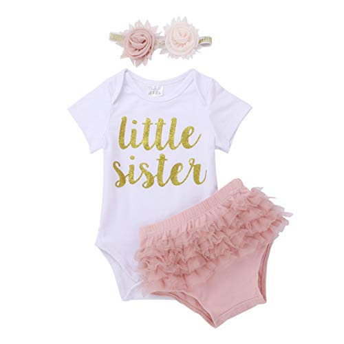 iEFiEL Newborn Baby Girls Hello World Outfit Short Sleeves Romper Bodysuit with Ruffle Tutu Shorts Bloomers Headband Set White&Dusty Pink 9-12 Months
