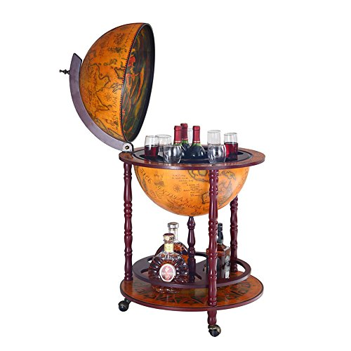 Wood Globe Wine Bar Stand 16th Century Italian Rack Liquor Bottle Shelf (JG45001R)