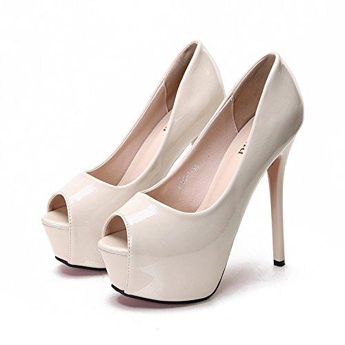 de Zapatos mujer pescado individual Boca tacón Tacones de Súper Almond impermeable Jqdyl alto Plataforma xIqw1aXg
