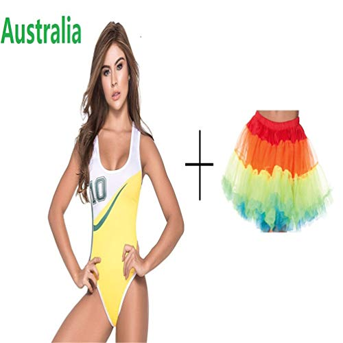 Football Cup Cheerleading Dress Vest Body Suit Night Club DS Performance Wear Cheerleaders Team Australia with Skirt S]()
