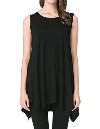 Jollielovin womens plus size loose fit sleeveless t shirt for Black sleeveless shirt womens
