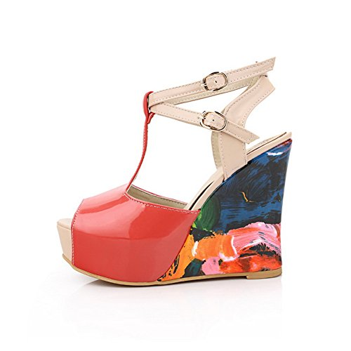 VogueZone009 Womens Open Peep Toe High Heel Wedge Platform PU Patent Leather Assorted Colors Sandals Watermelonred B8uKS