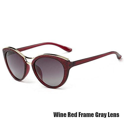 Azul Gafas Ojo Para Polarizadas Gray Mujeres De Gris Gato Wine Vintage TIANLIANG04 De Las Gafas Red PwqFdBEP