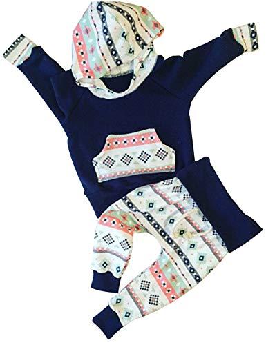 Newborn Baby Boy Girl Clothes Kangaroo Pocket Hooded T-Shirt Tops+ Floral Pant 2Pcs Outfits Sets