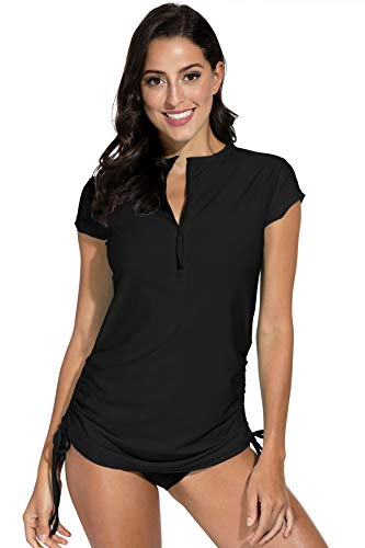 Spadehill Women's UV Sun Protection Short Sleeve Rashguard Half Zipper Rash Guard