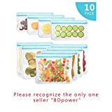 [10 Pack] Reusable Sandwich & Snacks Bags, Reusable Ziplock Storage Bags Freezer Safe, Extra Thick PEVA Material BPA/Plastic Free Bags for Lunch, Snacks, Toiletries, Make-up