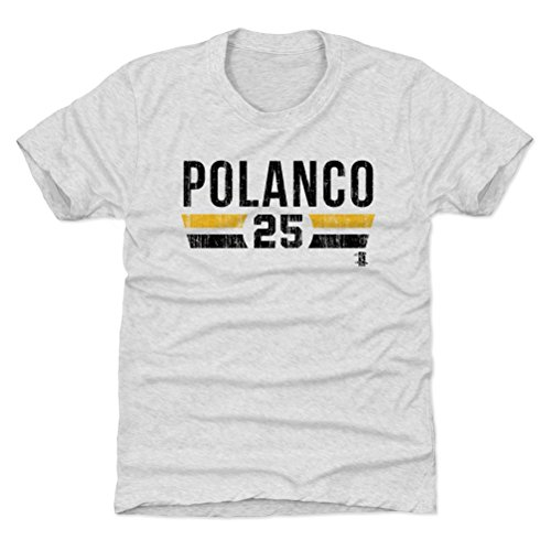500 LEVEL Pittsburgh Pirates Youth Shirt - Kids X-Small (4-5Y) Tri Ash - Gregory Polanco Font -