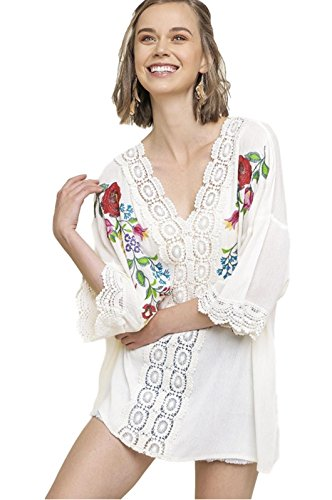 Trim Crochet Tunic (Umgee Women's Bohemian Floral Embroidered V-Neck Tunic with Elbow Length Sleeves and Crochet Trim (Cream, Medium/Large))