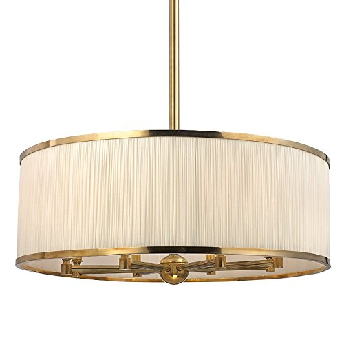 Hastings Transitional Chandelier (Hastings 8-Light Chandelier - Aged Brass Finish with White Pleated Silk Shade)