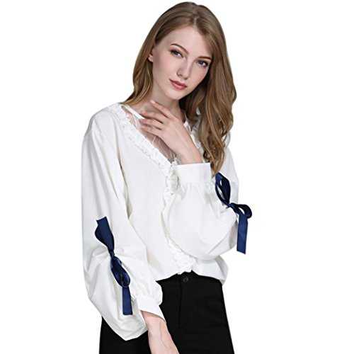 Women Mesh Patchwork O Neck Ruffles Lantern Bowknot Sleeve Autumn Shirt (XL, White) by Napoo-long sleeve blouse