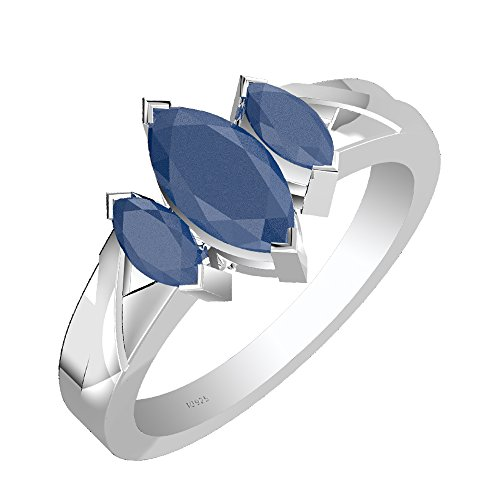 2.60ctw,Genuine Sapphire 5x10mm Marquise & Solid .925 Sterling Silver Ring (Size-6.5)