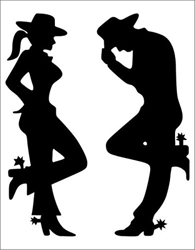 amazon com cowgirl cowboy silhouette black decal 7 x 5 free rh amazon com cowboy silhouette clip art free clipart cowboy silhouette