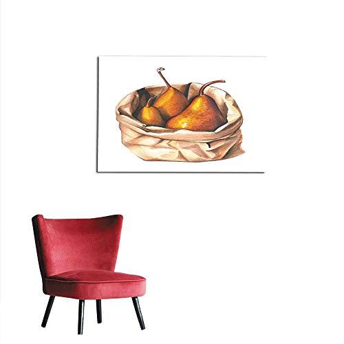 "Wallpaper Hand Drawn Aquarelle Colorful Illustration Watercolor Artwork Three Sweet Golden Pears in a Craft Paper Bag Fresh Fruit and Vitamins Vegetarian Organic Food Autumn Harvest Mural 24""x20"""