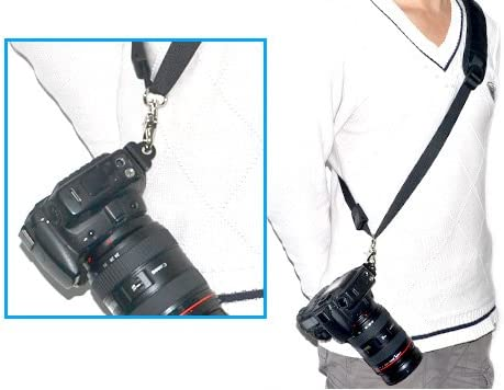 Kaavie vis-/à plaque unique, est constitu/é dun mat/ériau en aluminium avec deux oeillets de sangle sur les deux c/ôt/és pour la fix Courroie Sangle dEpaule Quick Release pour Appareil Photo Canon Nikon Pentax Sony Samsung