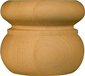 Sapelo Round Bun Foot in Soft Maple - Dimensions: 3 x 3 3/8 inches